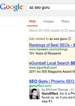 "I guarantee, that at the time I write this post, we are on page one for ""AZ SEO Guru"". (No, it's not really a big deal.)"